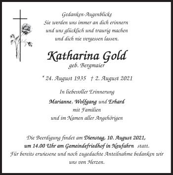 Traueranzeige von Katharina Gold von merkurtz