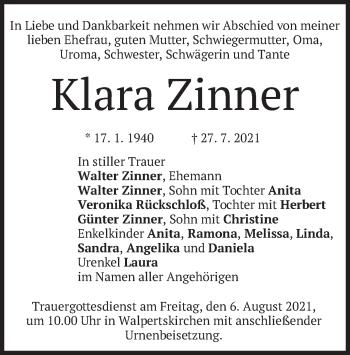 Traueranzeige von Klara Zinner von merkurtz