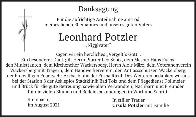 Traueranzeige für Leonhard Potzler vom 21.08.2021 aus merkurtz
