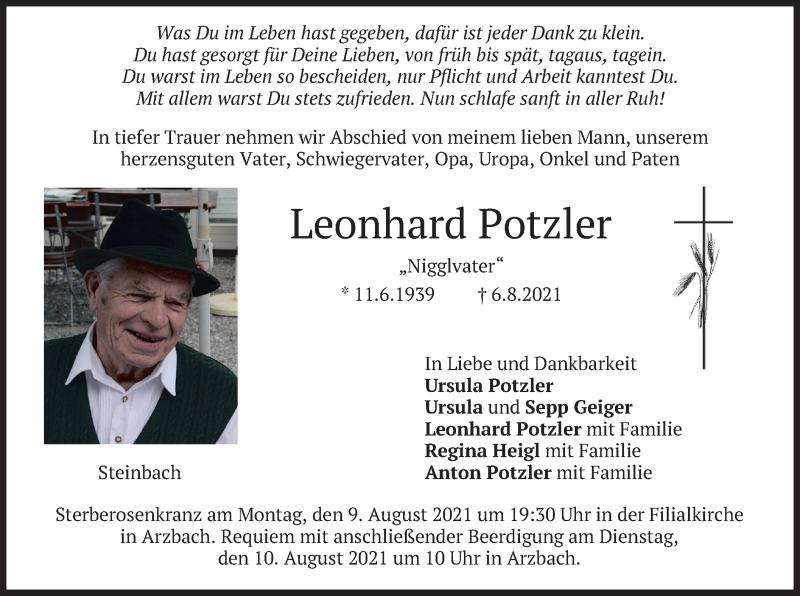 Traueranzeige für Leonhard Potzler vom 07.08.2021 aus merkurtz