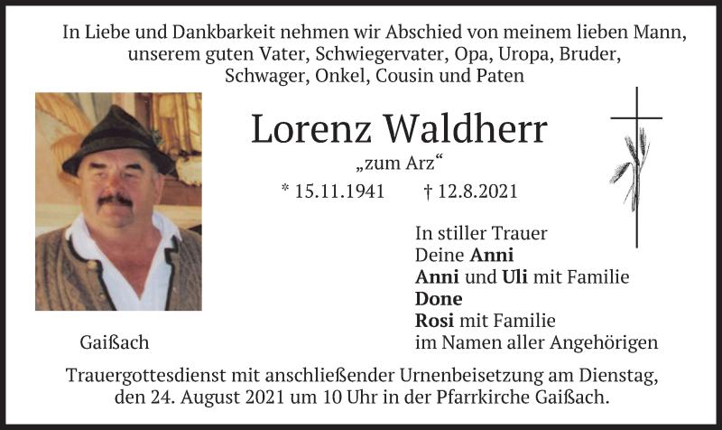 Traueranzeige für Lorenz Waldherr vom 21.08.2021 aus merkurtz