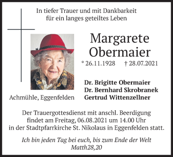 Traueranzeige von Margarete Obermaier von merkurtz