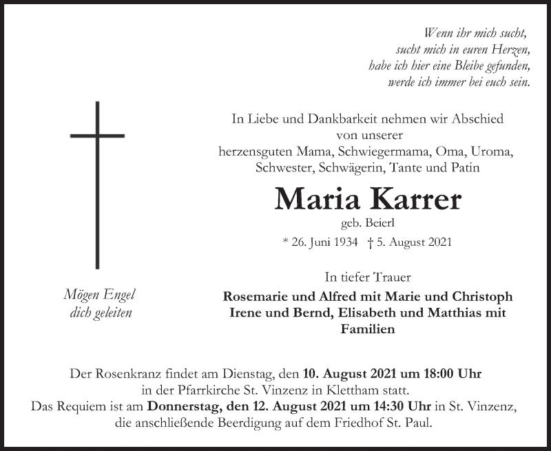 Traueranzeige für Maria Karrer vom 10.08.2021 aus merkurtz
