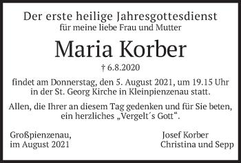 Traueranzeige von Maria Korber von merkurtz
