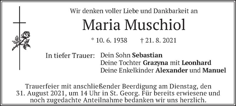 Traueranzeige für Maria Muschiol vom 26.08.2021 aus merkurtz