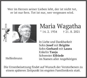 Traueranzeige von Maria Wagatha von merkurtz