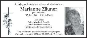 Traueranzeige von Marianne Zäuner von merkurtz