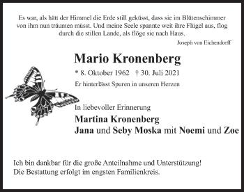 Traueranzeige von Mario Kronenberg von merkurtz