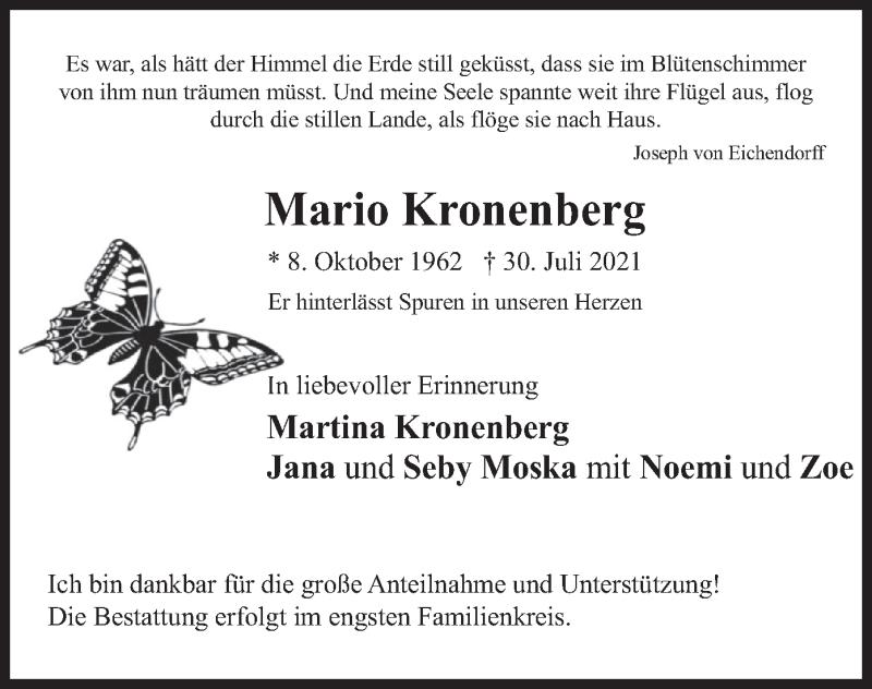 Traueranzeige für Mario Kronenberg vom 07.08.2021 aus merkurtz