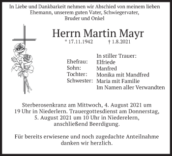 Traueranzeige von Martin Mayr von merkurtz