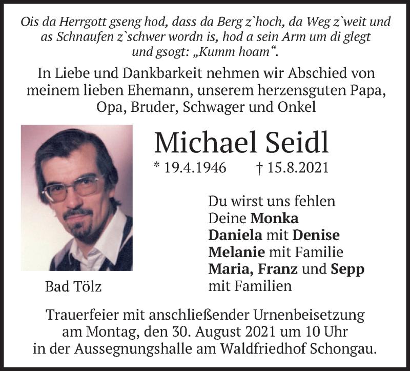Traueranzeige für Michael Seidl vom 27.08.2021 aus merkurtz