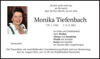 Traueranzeige von Monika Tiefenbach von merkurtz