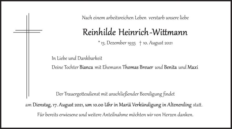 Traueranzeige für Reinhilde Heinrich-Wittmann vom 14.08.2021 aus merkurtz