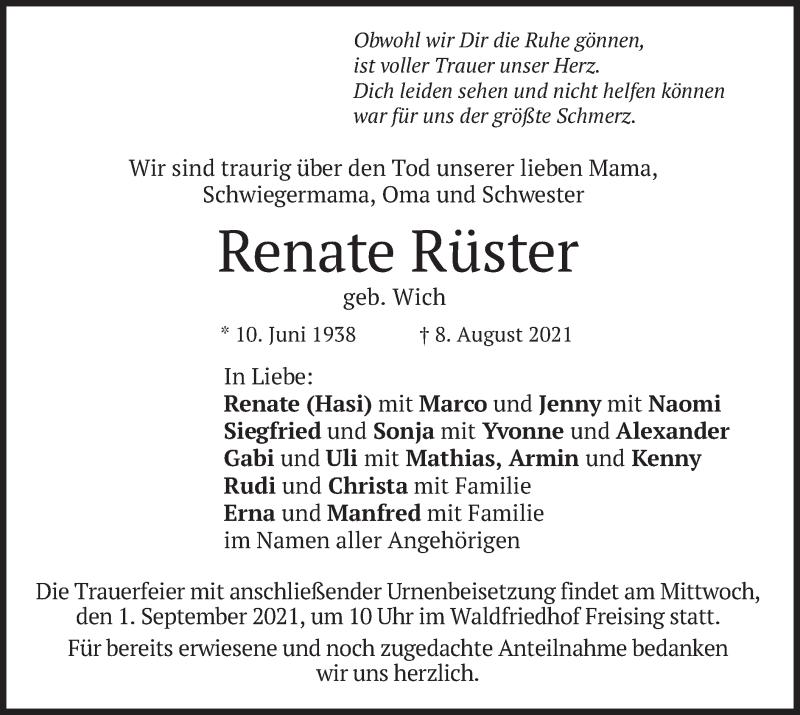 Traueranzeige für Renate Rüster vom 30.08.2021 aus merkurtz