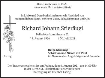 Traueranzeige von Richard Johann Stieräugl von merkurtz