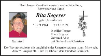 Traueranzeige von Rita Segerer von merkurtz