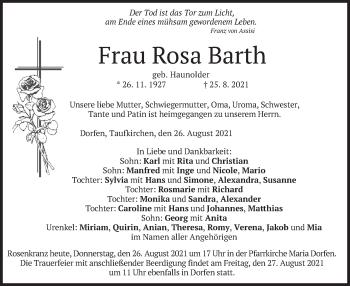 Traueranzeige von Rosa Barth von merkurtz