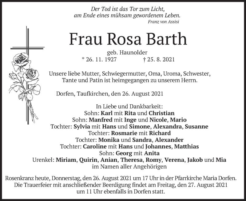 Traueranzeige für Rosa Barth vom 26.08.2021 aus merkurtz
