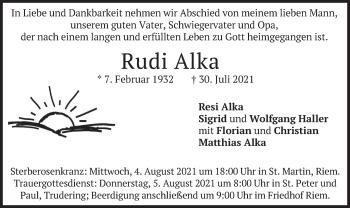 Traueranzeige von Rudi Alka von merkurtz
