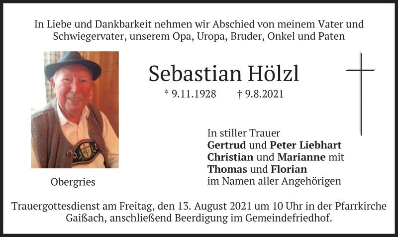Traueranzeige für Sebastian Hölzl vom 11.08.2021 aus merkurtz