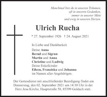 Traueranzeige von Ulrich Rucha von merkurtz