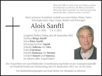 Traueranzeige von Alois Sanftl von merkurtz