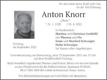 Traueranzeige von Anton Knorr von merkurtz