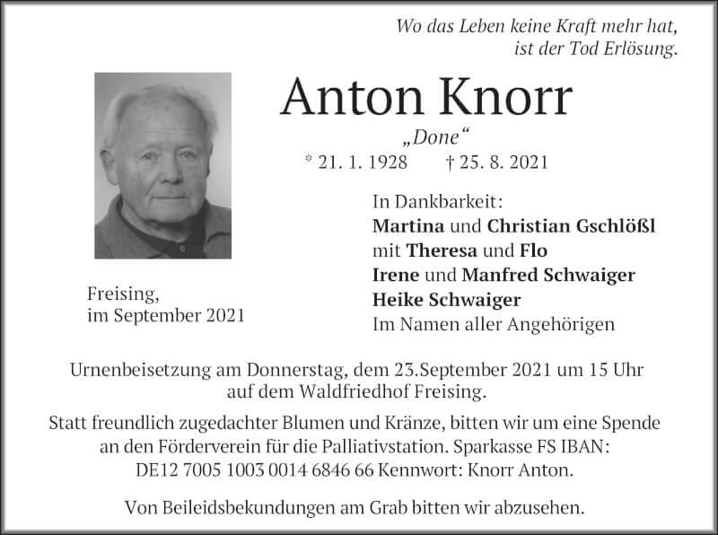 Traueranzeige für Anton Knorr vom 18.09.2021 aus merkurtz