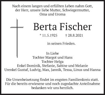 Traueranzeige von Berta Fischer von merkurtz