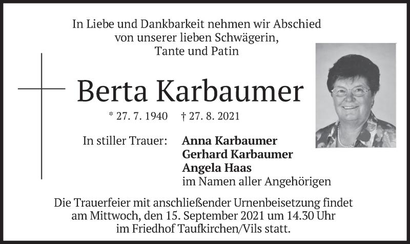 Traueranzeige für Berta Karbaumer vom 11.09.2021 aus merkurtz