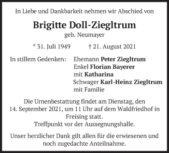 Traueranzeige von Brigitte Doll-Ziegltrum von merkurtz