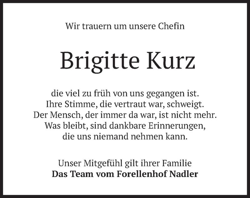 Traueranzeige für Brigitte Kurz vom 16.09.2021 aus merkurtz