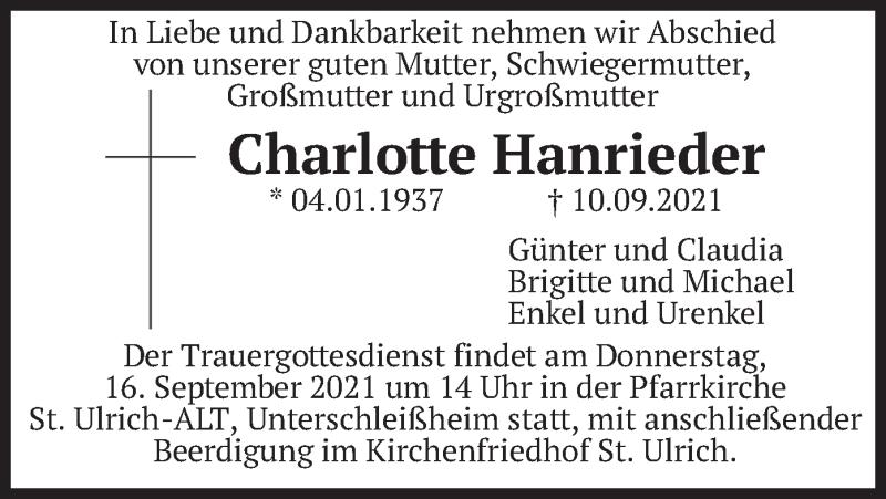 Traueranzeige für Charlotte Hanrieder vom 15.09.2021 aus merkurtz