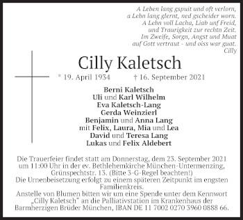 Traueranzeige von Cilly Kaletsch von merkurtz