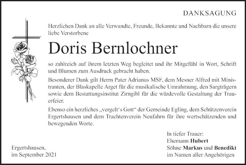 Traueranzeige für Doris Bernlochner vom 18.09.2021 aus merkurtz