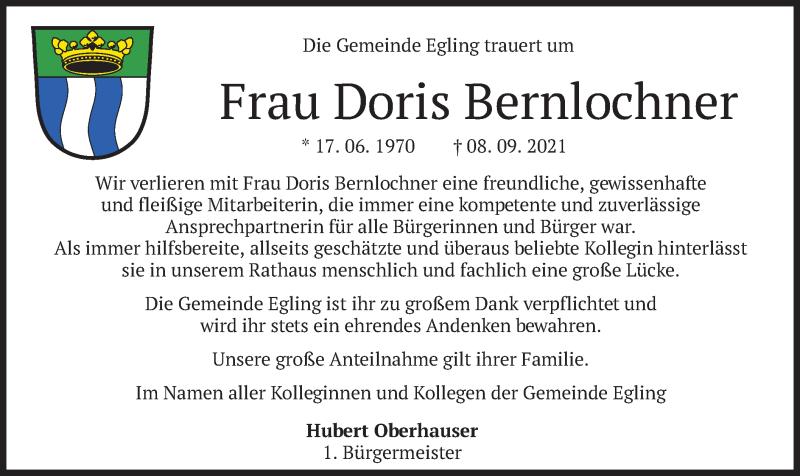 Traueranzeige für Doris Bernlochner vom 14.09.2021 aus merkurtz
