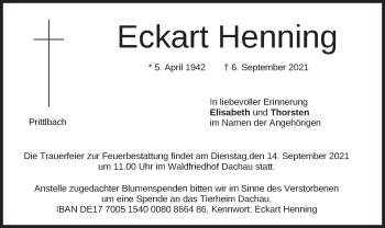 Traueranzeige von Eckart Henning von merkurtz
