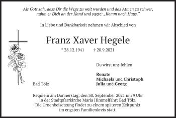 Traueranzeige von Franz Xaver Hegele von merkurtz