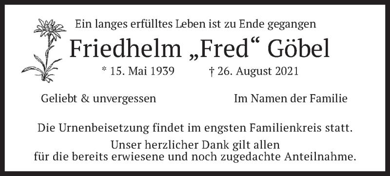 Traueranzeige für Friedhelm Göbel vom 11.09.2021 aus merkurtz