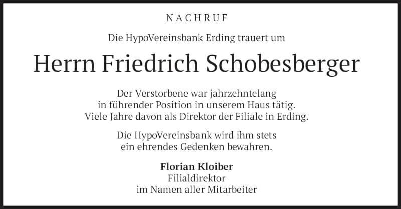 Traueranzeige für Friedrich Schobesberger vom 18.09.2021 aus merkurtz