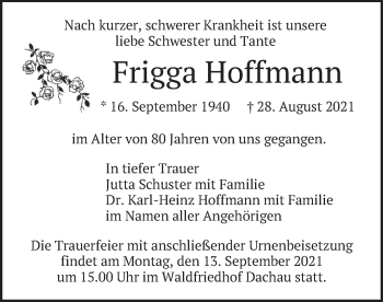 Traueranzeige von Frigga Hoffmann von merkurtz