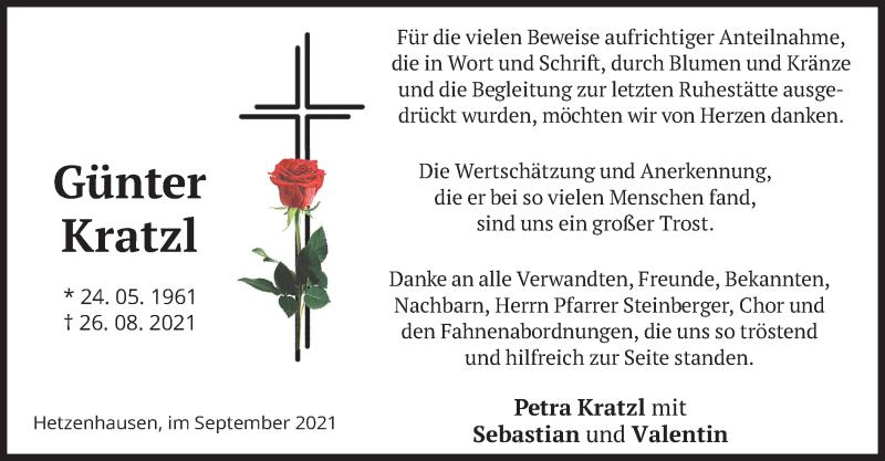 Traueranzeige für Günter Kratzl vom 11.09.2021 aus merkurtz