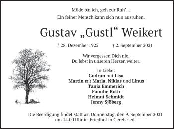 Traueranzeige von Gustav Weikert von merkurtz