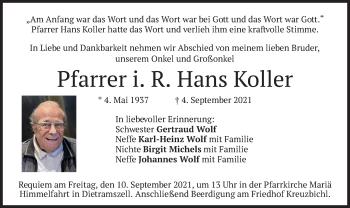 Traueranzeige von Hans Koller von merkurtz
