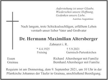 Traueranzeige von Hermann Maximilian Altersberger von merkurtz