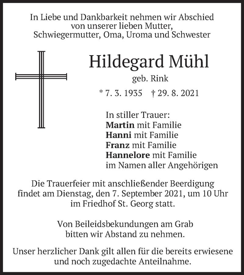 Traueranzeige für Hildegard Mühl vom 02.09.2021 aus merkurtz