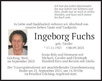 Traueranzeige von Ingeborg Fuchs von merkurtz