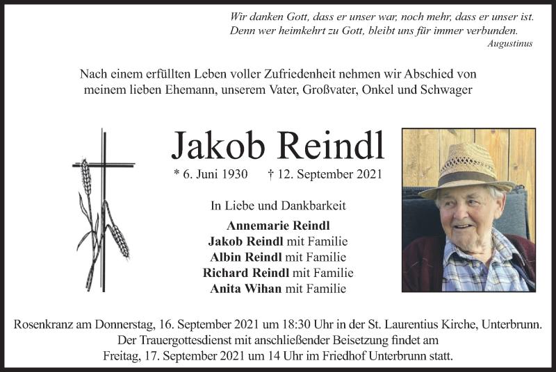 Traueranzeige für Jakob Reindl vom 15.09.2021 aus merkurtz
