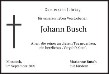 Traueranzeige von Johann Busch von merkurtz