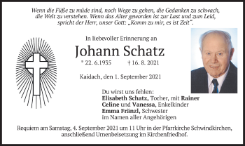 Traueranzeige von Johann Schatz von merkurtz